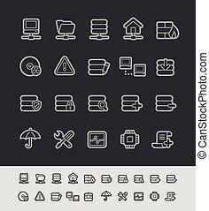 red, y, servidor, iconos