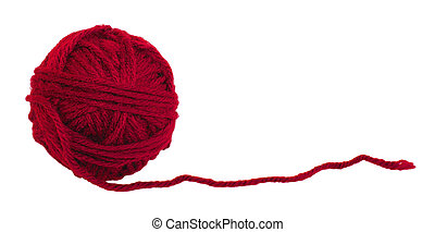 Red Yarn - Ball of red yarn isolated on white background