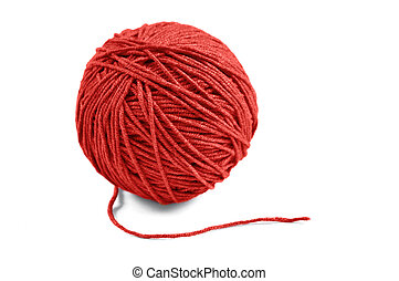 Red yarn ball - Red wool yarn ball isolated on white...