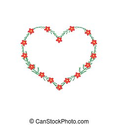 Red Yarrow Flowers in A Heart Shape Frame - Love Concept, ...