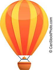 Red yellow air balloon icon, cartoon style