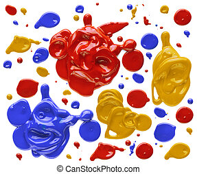 Red, yellow, and blue blobs of paint