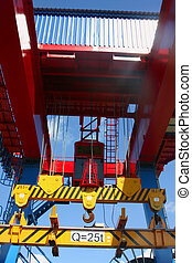 Goliath crane - Red, yellow and blue Goliath crane loading...