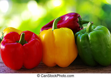 red, yellow and green pepper on green background