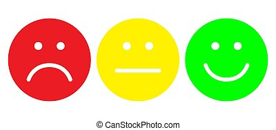 Red, yellow and green smileys. Face symbols.