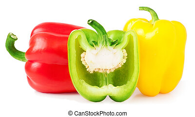 Red yellow and half green bell peppers on a white
