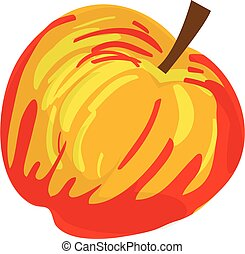 Red yellow apple icon, cartoon style