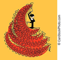 red-yellow, bild, von, flamenco