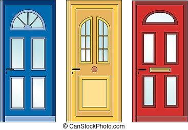 Red yellow blue doors