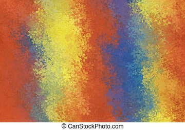 red yellow blue flowers abstract