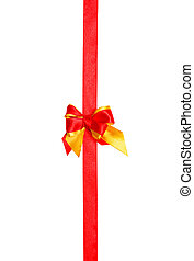 red, yellow bow, ribbon isolated on white