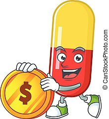 Red yellow capsules rich cartoon character have big gold coin