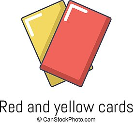 Red yellow card icon, cartoon style