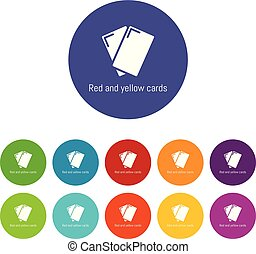 Red yellow card icons set vector color
