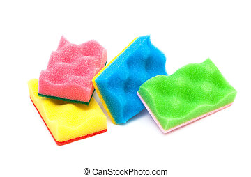 sponge - red, yellow, green and blue sponge on a white...