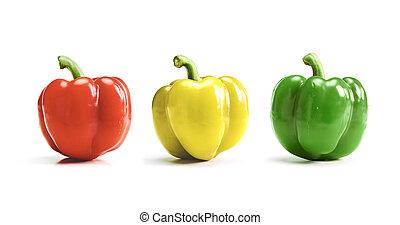 Red, yellow, green bell pepper, paprika isolated on white