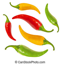 Red, yellow, green hot chili pepper, with clipping path