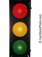 red yellow green traffic lights isolated