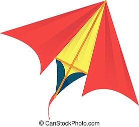 Red yellow kite icon, cartoon style