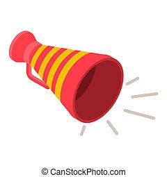 Red yellow megaphone icon, isometric style