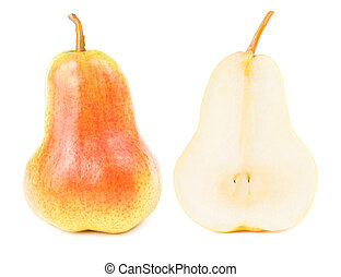 Red yellow pear fruit cut in half isolated