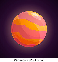 Red yellow planet icon, cartoon style