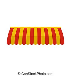 Red yellow street tent icon, flat style