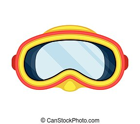 Red-yellow swimming mask. Vector illustration on white background.