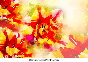 Red Yellow tulips and softly blurred watercolor background.