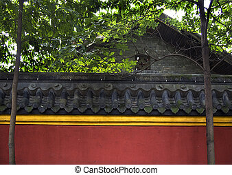 Red Yellow Wall Roof Tiles Baoguang Si Shining Treasure Buddhist Temple Chengdu Sichuan China Front of Temple