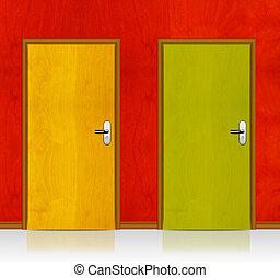 Red, Yellow wooden doors
