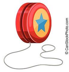 Red yo-yo with white string illustration