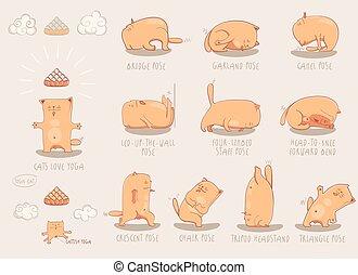 Red Yoga Cat set