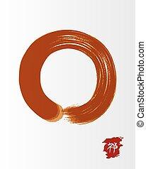Red zen circle illustration traditional enso - Enso Zen...