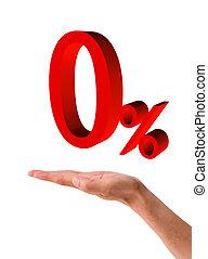 Red zero percent, isolated on white background. 0%