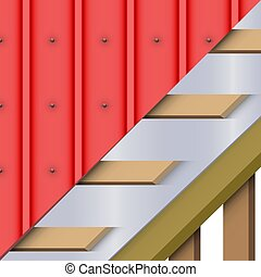 Red zinc metal roofing cover and layers - Demonstration of...