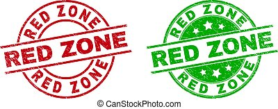 RED ZONE Round Stamps Using Unclean Surface
