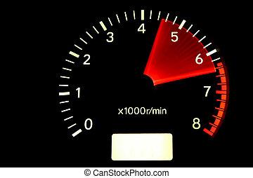 Tachometer reaching the red zone