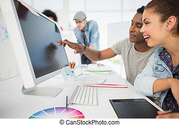 redactie, grafiek, ongedwongen, gebruik, tablet, foto