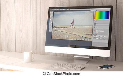 redagować, fotografia, desktop komputer