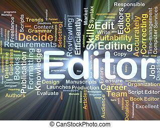 redaktør, baggrund, begreb, glødende