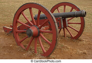 Redan Cannon - Red redan cannon at Valley Forge National...