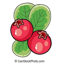 redberry on a bush with green leaves, cartoon illustration, isolated object on white background, vector illustration,