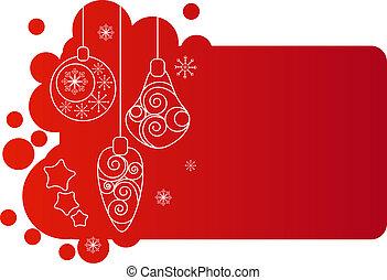 redchristmas, cadre, clair, décorations, blanc, contour