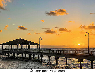Redcliffe Jetty on Moreton Bay at Sunrise