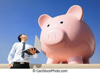 reddend geld, met, mijn, piggy bank