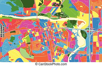 Redding, California, USA, colorful vector map - Colorful ...