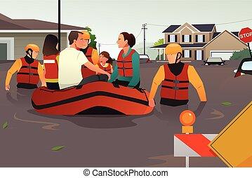 redding, mensen, wateroverlast, portie, team, gedurende