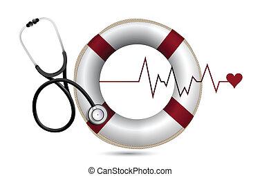 reddingslijn, lifebuoy, stethoscope
