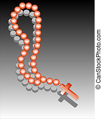 Reddish beads with a cross against a dark background